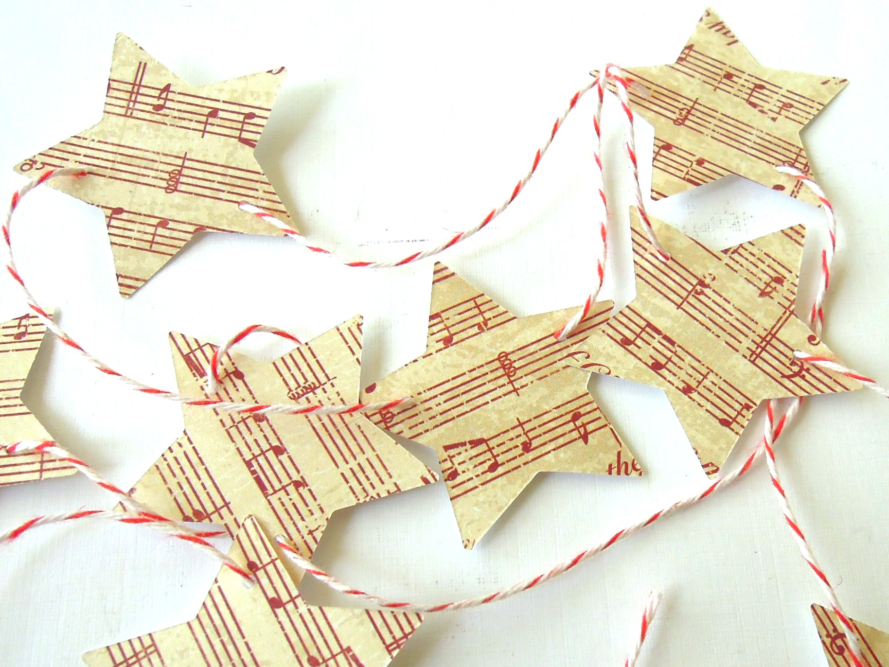 Vintage inspired christmas star garland banner yards